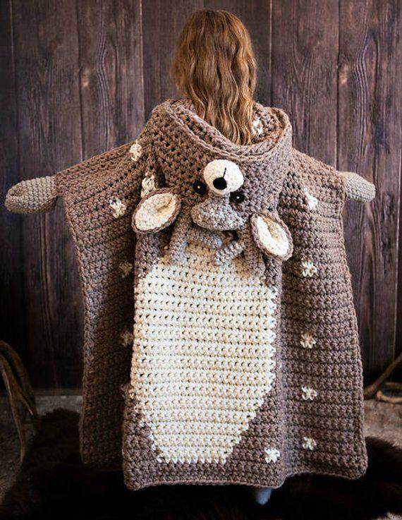 Woodland Deer cobertor Crochet Pattern - cobertor de veado da floresta com capuz Crochet PATTERN MJ está fora do gancho