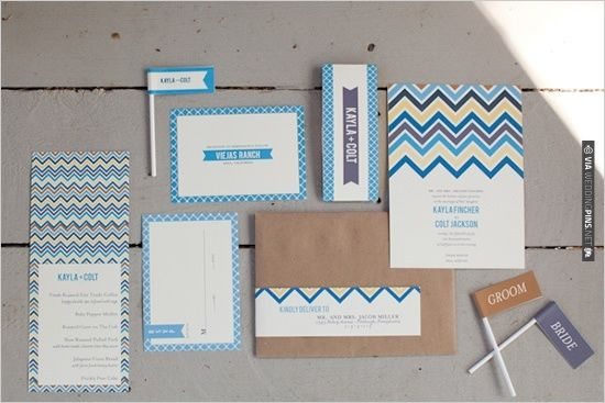 chevron wedding invite | VIA #WEDDINGPINS.NET