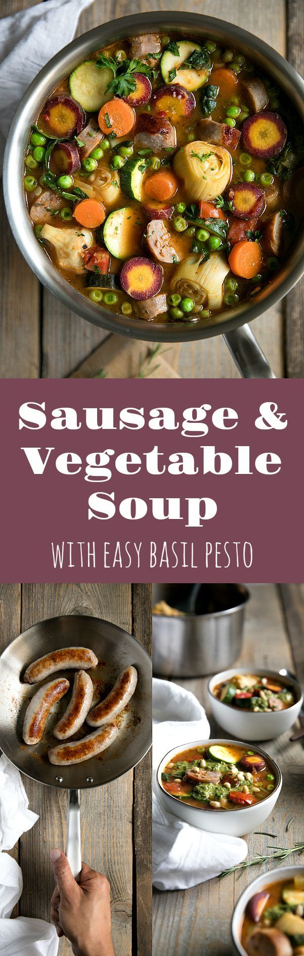 Sausage and Vegetable Soup with Easy Basil Pesto #madeinholidaysear #ad @madeincookware #soup #healthy #recipe #vegetablesoup #zucchini #sausage #easyrecipe #kale