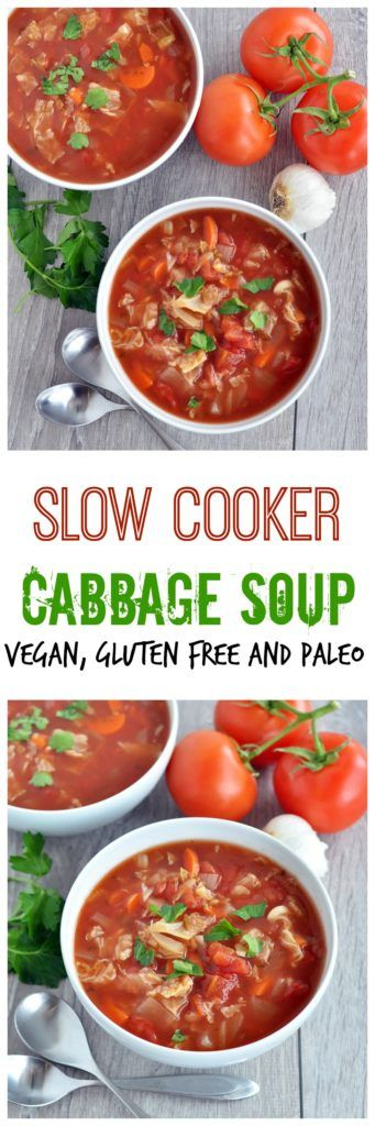 Need an easy meal idea? I got you covered with this slow cooker cabbage soup. Packed with good for you ingredients. Vegan, gluten free and paleo approved!