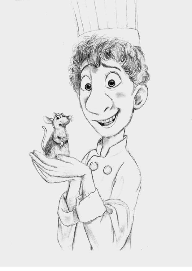 Something I drew a several months ago. I posted it on tumblr last night and some people on tumblr wanted me to color it. Ratatouille (C) Pixar
