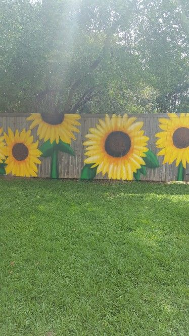 Sunflowers Painted On My Fencefun Time