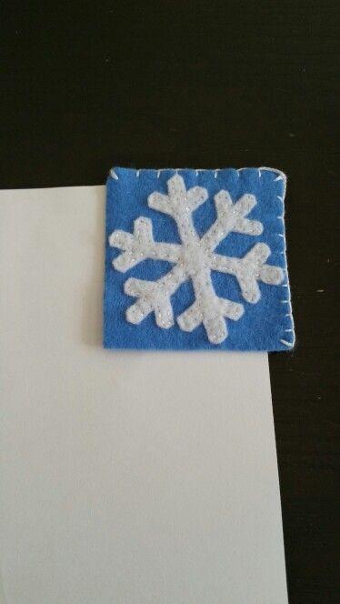 Felt bookmark - snowflake