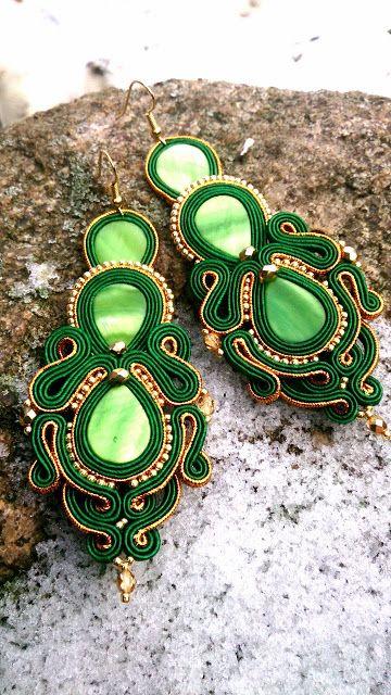 Niepowtarzalna nietuzinkowa biżuteria sutasz-moje życie moja miłość: kolczyki sutasz soutache sylwestrowo świąteczne
