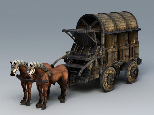 Medieval Heavy Horse Wagon 3d model 3ds Max files free