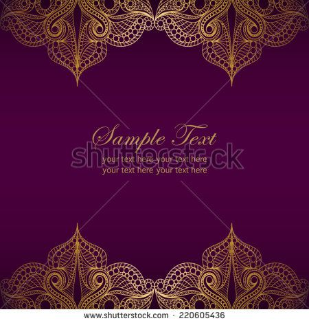 Invitation card with golden lace ornament.Vintage gold lace on purple background.It can be used for decorating of invitations,cards,cover for book,notebook.Vector illustration in asian and east style.