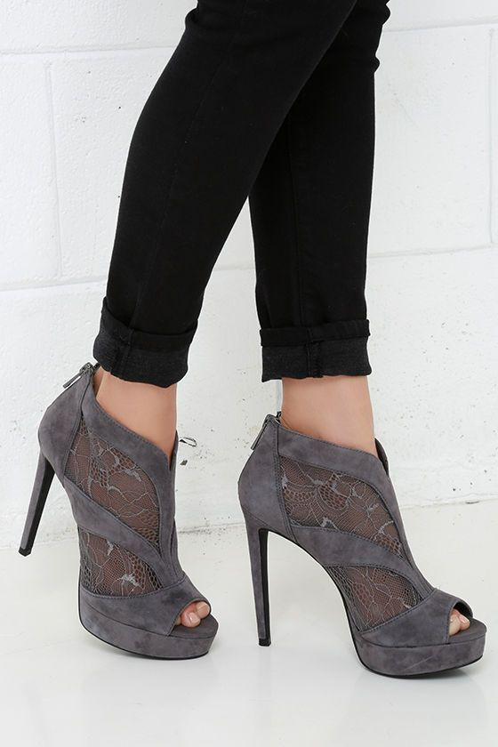 Jessica Simpson Adaway Thunder Grey Kid Suede and Lace Booties at Lulus.com!