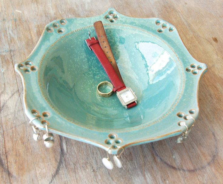 Handmade Jewelry Bowl, Pottery Keramik Gift Home Decor Organizing Earrings, Rings, Bracelets, Watches, Necklaces Storage in Turquoise. $35.00, via Etsy.