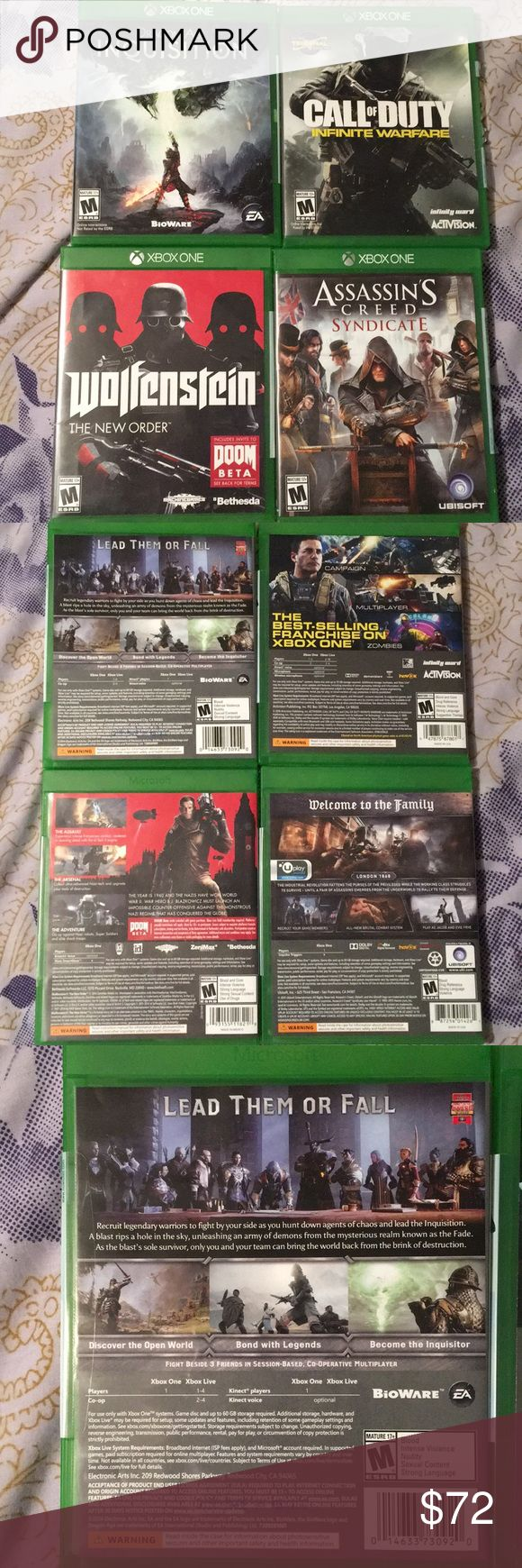 XBOX ONE Games Good as new XBONE ONE Games.  4 different kinds. Gave 20$ a piece  Asking 18$ a piece!!!    Sorry No Offers!!!  They have only been played ones!! Altogether they would be $64 I can sell separately if you want!!! 😊 Other