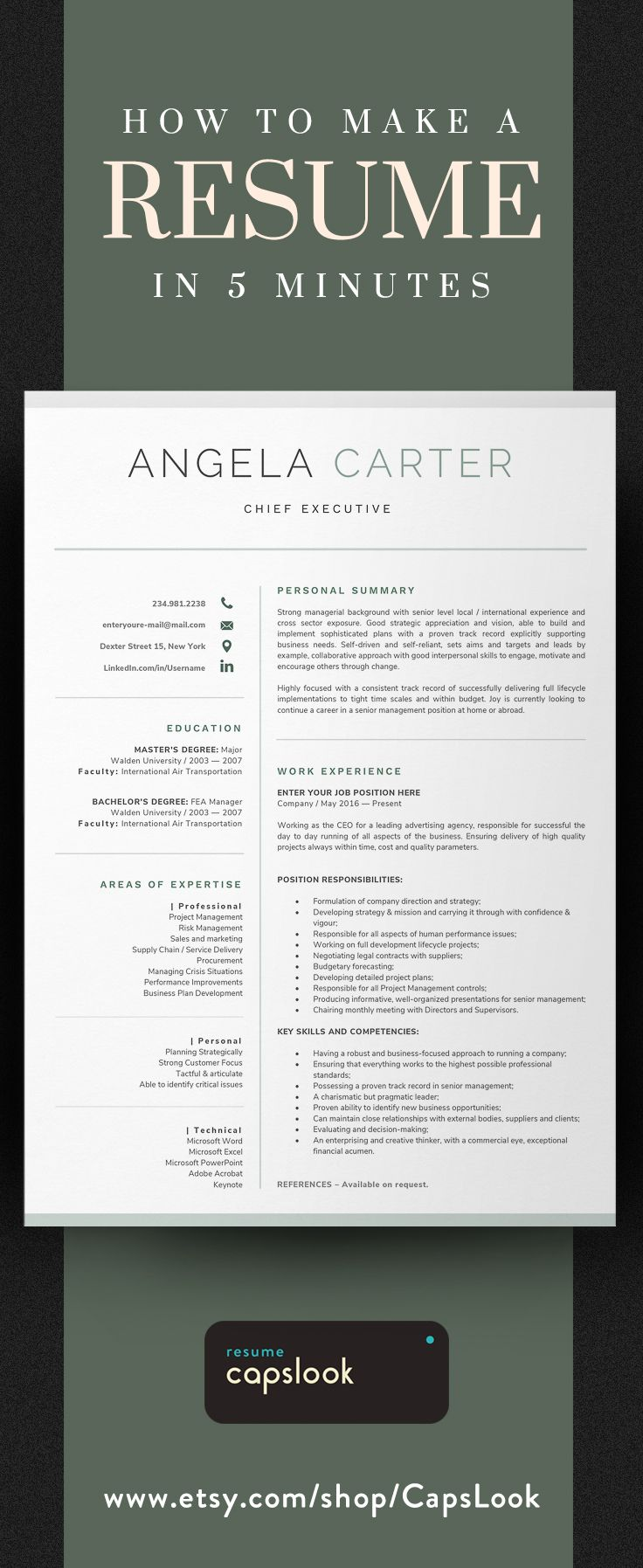 One Page Executive Resume Template Instant Download | CV Template ...