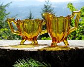 Vintage Indiana Glass 125-Amber Glass Sugar Bowl and Creamer