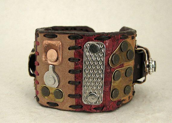 205 Steampunk Boho Wabi Sabi Palimpsest Bracelet by ShabbyLuxury