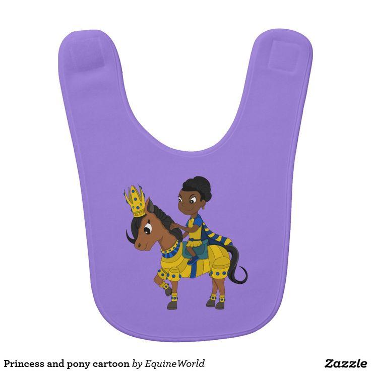 Princess and pony cartoon bib