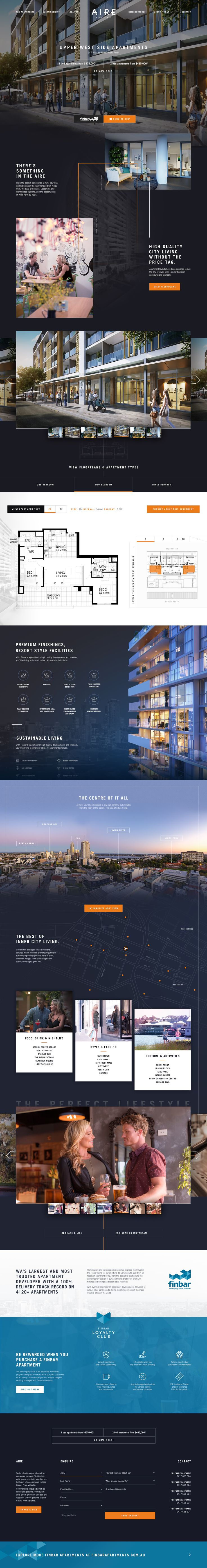 Aire Apartments One-Page Marketing Website. Ui design concept by Kylie Timpani @ Humaan