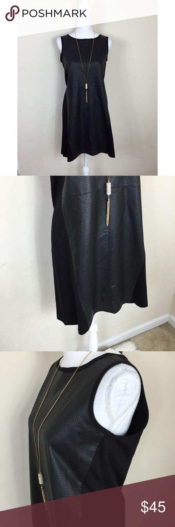 {Neiman Marcus} Genuine Leather Dress Neiman Marcus size medium. Genuine leather textured front. EUC. Zips up back. Neiman Marcus Dresses Mini