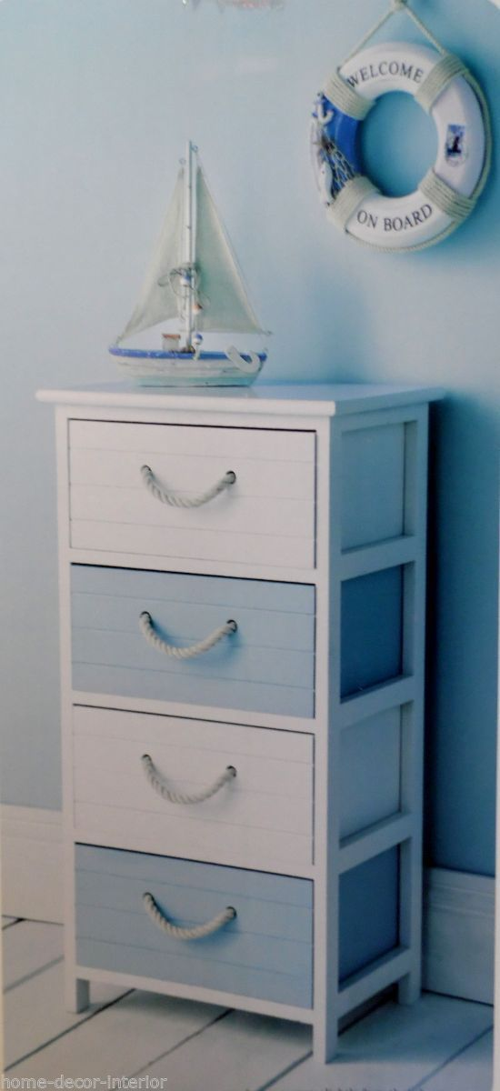 Nautical Wooden Cabinet 4 Drawer Chest Unit Storage