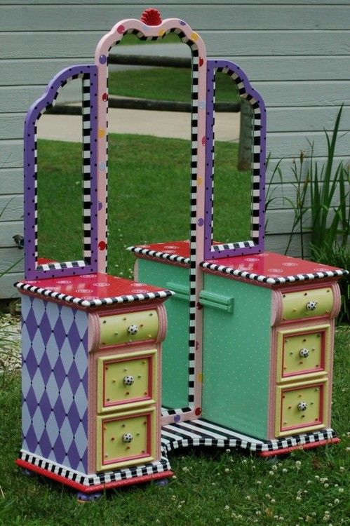 Hand Painted Vanity by Mad Tea Party Furniture on Etsy
