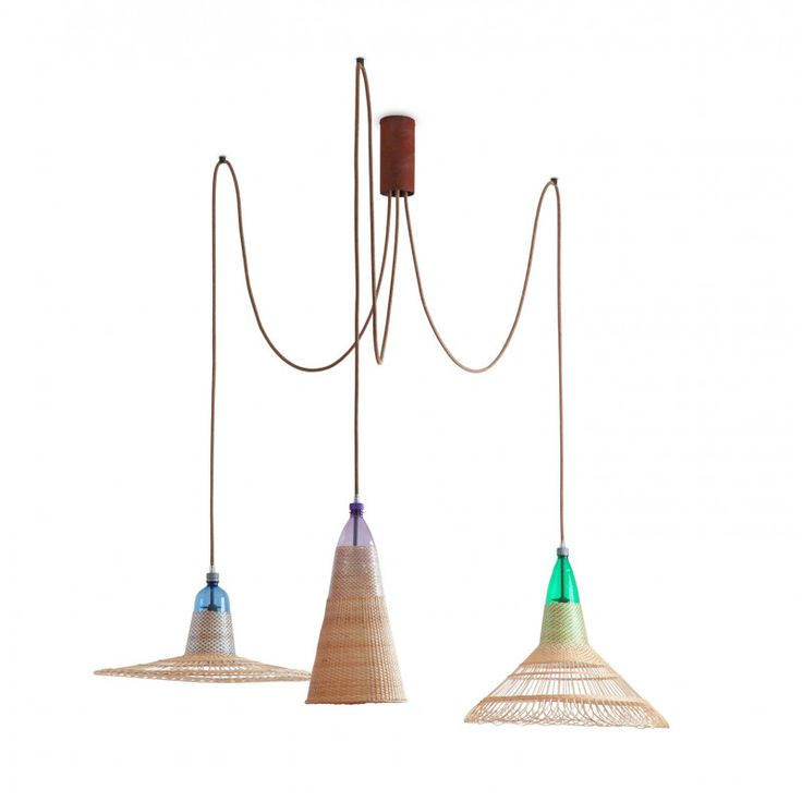This Set of 3 lamps are part of the Chimbarongo collection, Chile. Year 2013. The lamps in this collection reflect the natural character of wicker and the sober personality of the craftsmen in central Chile. They are a piece of bold and contemporary design, weightless and yet with a great presence as if floating in the illuminated space. Contemporary by design the PET Lamp is made using ancient artisan textile traditions. Each lamp is unique, from the colour, pattern and cord selected. The…