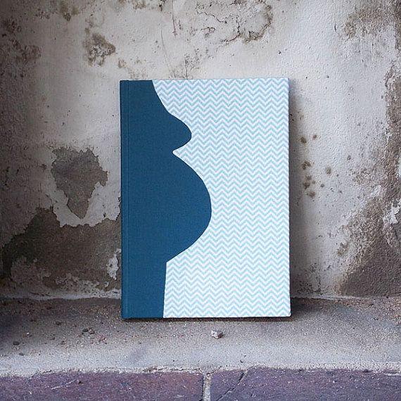 Blue Pregnancy Diary, momtobe, new baby, pregnancy gift, personalized diary, pregnancy diary fabric, light blue, chevron fabric