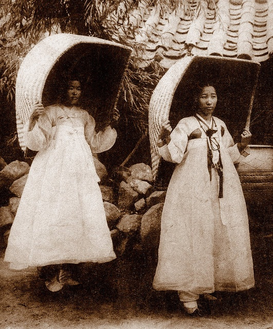 "OLD KOREA - LAND OF THE MORNING CALM -- Korean Girls Testing a New ""Short Drop"" Parachute Design by Okinawa Soba, via Flickr"