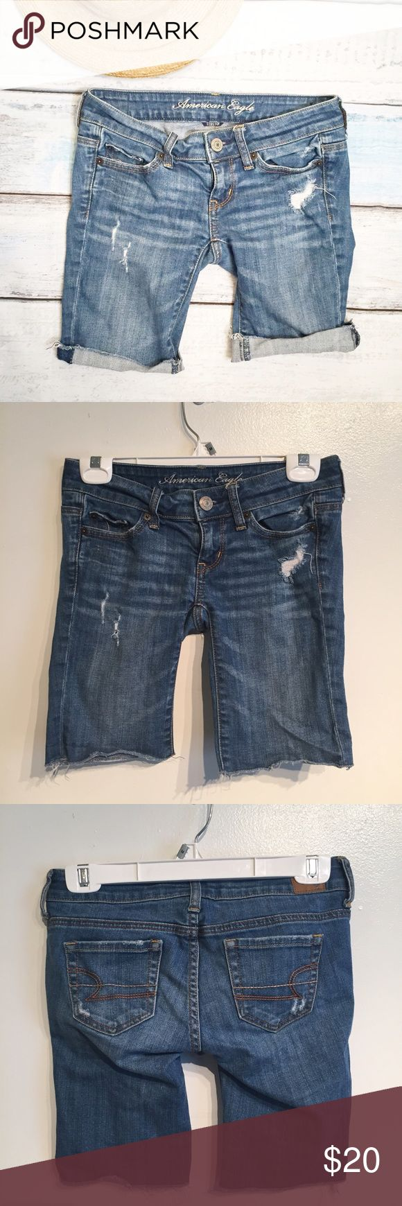 """American Eagle Denim Bermuda Shorts American Eagle Outfitters slightly distressed denim Bermuda shorts. Size 00. Measures 14"""" flat at the waist and 9"""" inseam. No modeling. Smoke free home. I do discount bundles. American Eagle Outfitters Shorts Bermudas"""