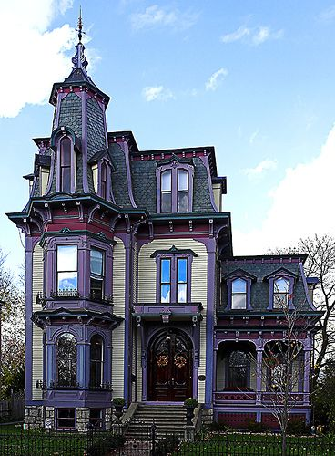I'd like to live in that purple witchy Victorian house. I love mansard roofs.