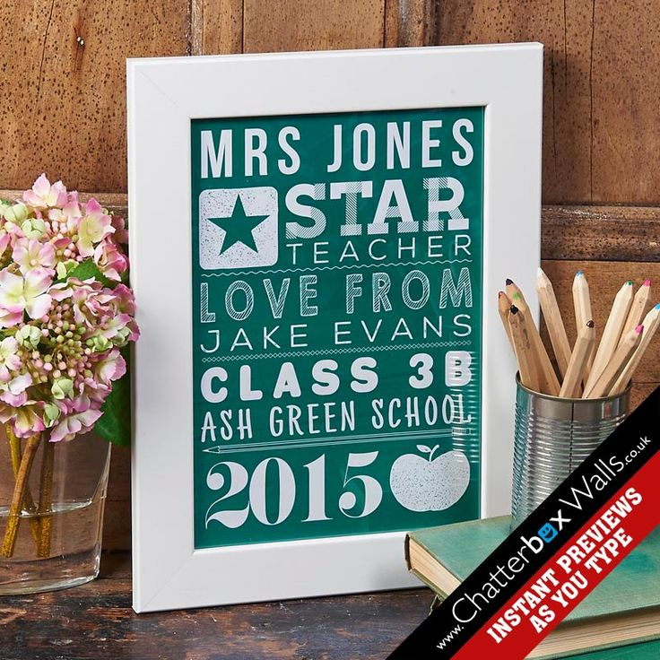 Personalised framed gift for teacher.