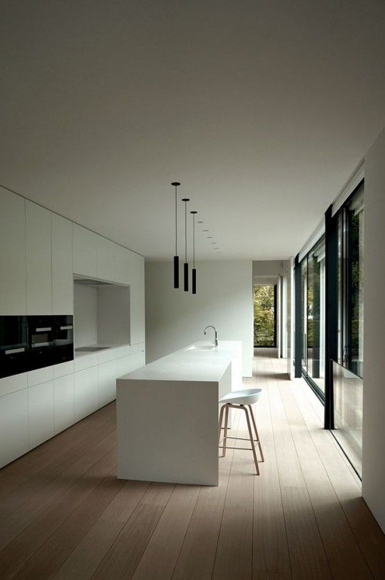 37 Functional Minimalist Kitchen Design Ideas | DigsDigs                                                                                                                                                                                 Más