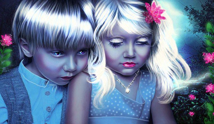 Анимация Дети на фоне цветов, ЕVА, гифка Дети на фоне цветов, ЕVА