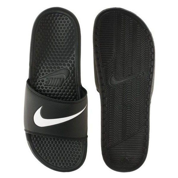 Nike Benassi Swoosh Slider Flip Flops ❤ liked on Polyvore featuring shoes, sandals, flip flops, traction shoes, open toe sandals, nike shoes, nike and nike footwear