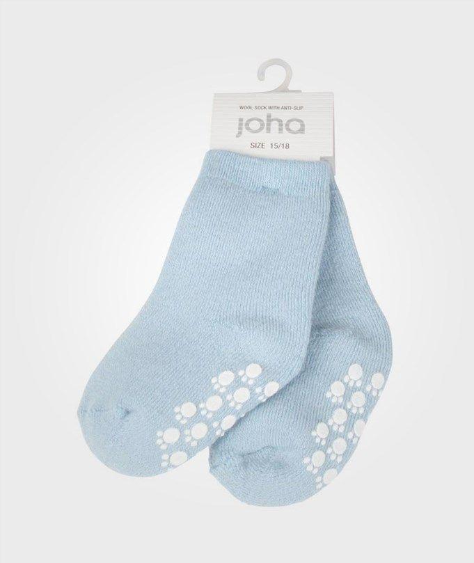 JOHA - Wool Sock Anti Slip Lightblue - str 22-
