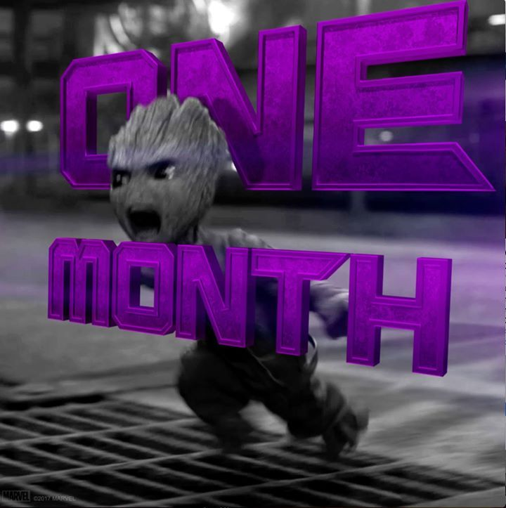 One month. Two words. BABY GROOT.   Get tickets to see Guardians of the Galaxy Vol. 2! http://fandan.co/2nsOMaS #AwesomeStuff