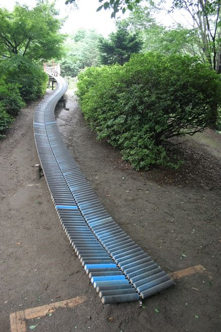 Slide made from rollers   Fixed Play, Tokyo, Showa Kinen Park   Dismal Garden