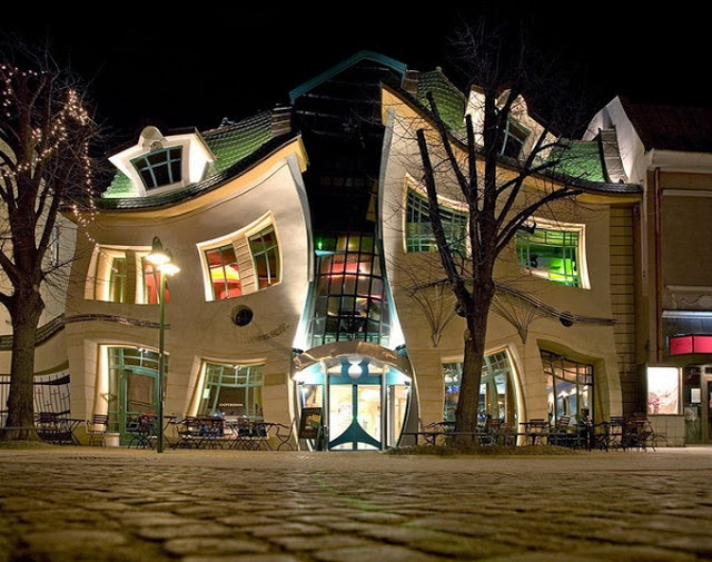 The Crooked House (Sopot, Poland)  . Building architecture is based on Jan Marcin Szancer (famous Polish drawer and child books illustrator) and Per Dahlberg (Swedish painter living in Sopot) pictures and paintings.