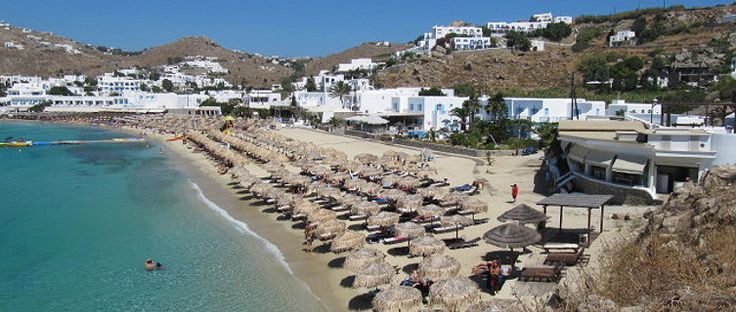 Beautiful Plati Gialos Beach is just 10 minutes from Mykonos Town