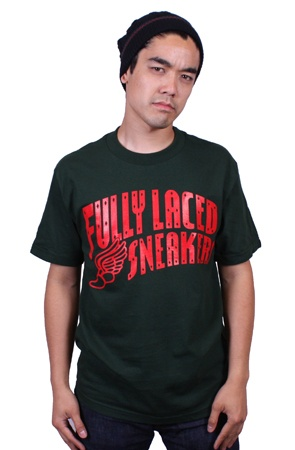 The Fully Laced Sneakers Tee (Grn/Red)Hunter Green XL XXL M S L