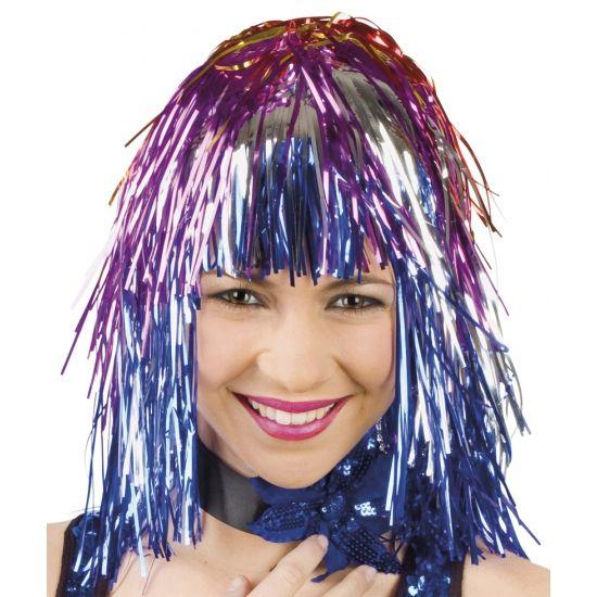 Lurex folie pruik met gekleurde slierten. Deze feestpruik kan o.a. voor een discofeest of als clownspruik gebruikt worden.