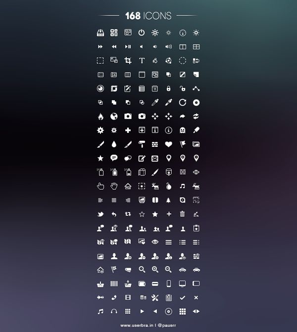 168 Free icons - PSD by Tom Junker, via Behance