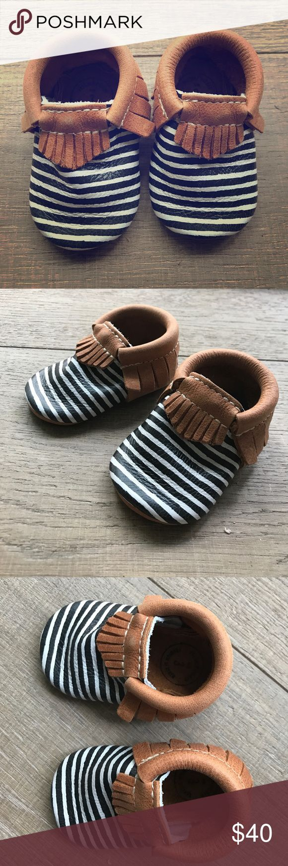 Size 3 Freshly Picked Black/White/Tan Mocassins These Freshly Picked Size 3 black and white striped leather  toddler mocassins have never been worn. Brand new - perfect condition. Freshly Picked Shoes Moccasins
