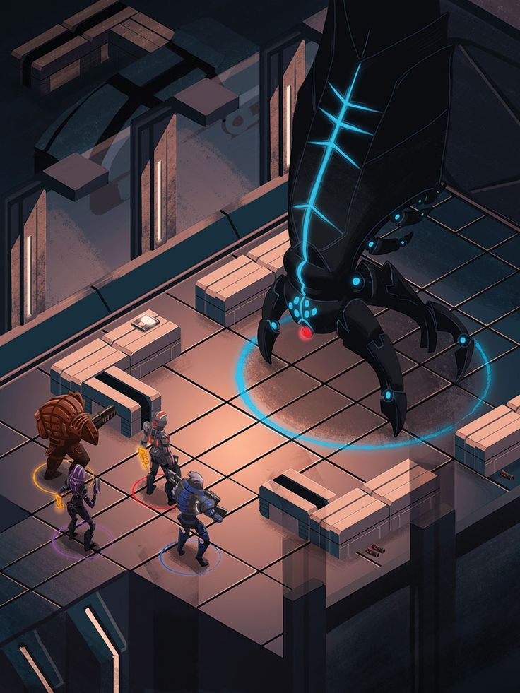 I made this for Light Grey Art Lab's show Boss Rush. It's based on the Mass Effect series, one of my personal favorites. It's a kind of a re-imagining of the game as a turn based isometric RPG