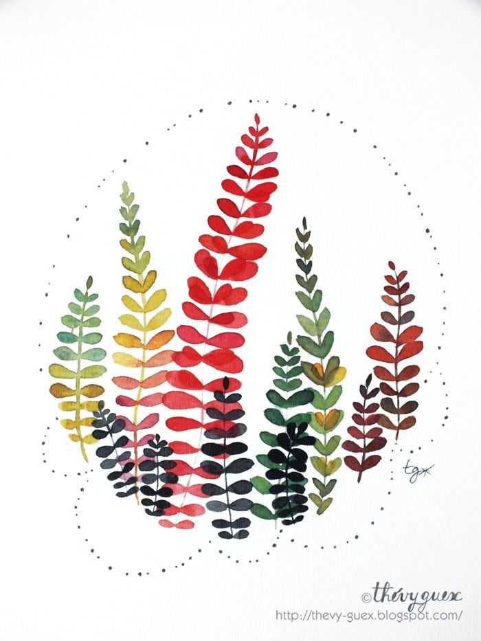 Illustration Affiche Poster Bouquet Feuille Feuillage Forêt Nature Decor Aquarelle Multicolore Automne