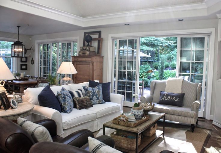 Similar our living room - gray, blue, brown chair, want to add sliding glass doors