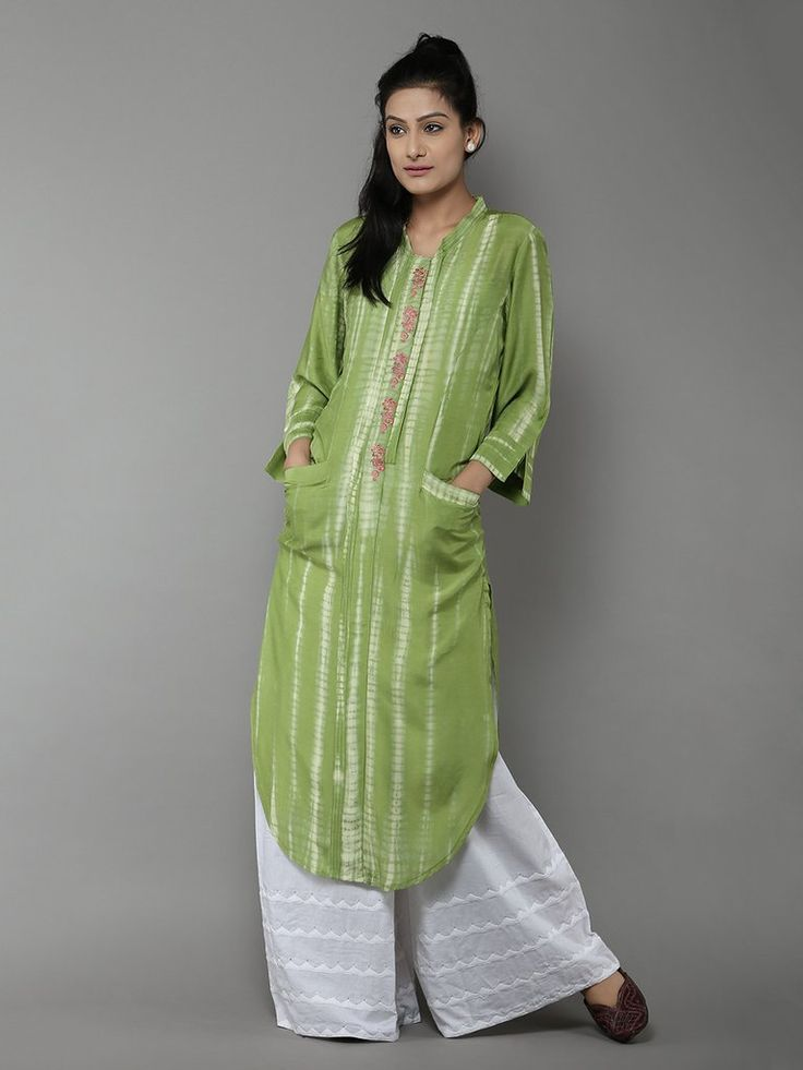 Light Green Tie and Dye Cotton Silk Kurta