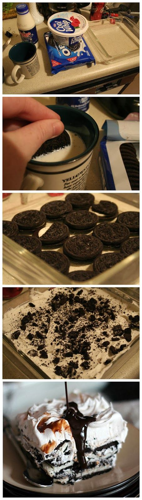 Oreo Icebox Cake. I'm going to do this with the Cookie dough Oreos and add a chocolate crust to the bottom!