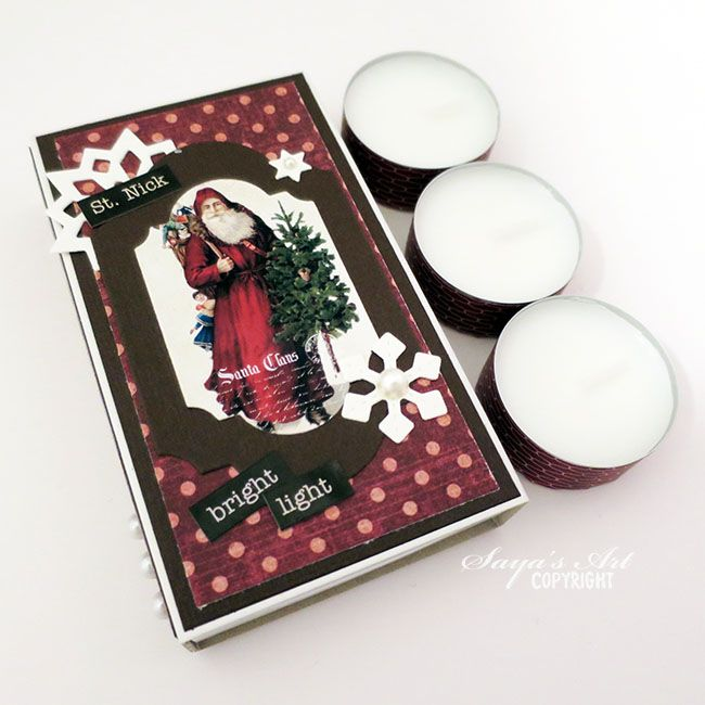 anma.no - 12 Days of Xmas - Matchbox and tea lights giftset created by Dt Silje.