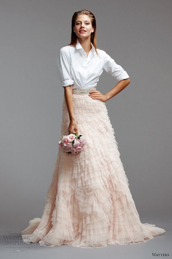 watters wedding dresses spring 2014 shirt pink skirt