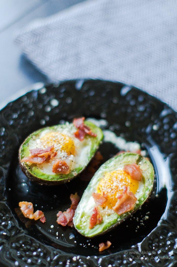 Grillad avokado med ägg