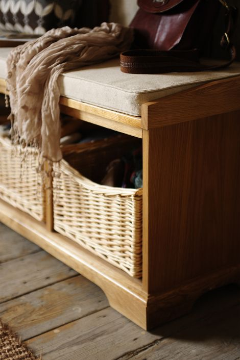 Wicker baskets, brogues, leather bag, hallway furniture, hall bench, farmhouse, modern rustic, modrern country living