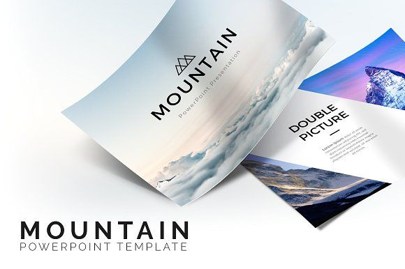Mountain Powerpoint Template. Best PowerPoint templates for businesses like social media, marketing, branding, education, advertising. More #creative #powerpoint #templates for your #business you can download here ➝ https://creativemarket.com/templates/presentations?u=BarcelonaDesignShop