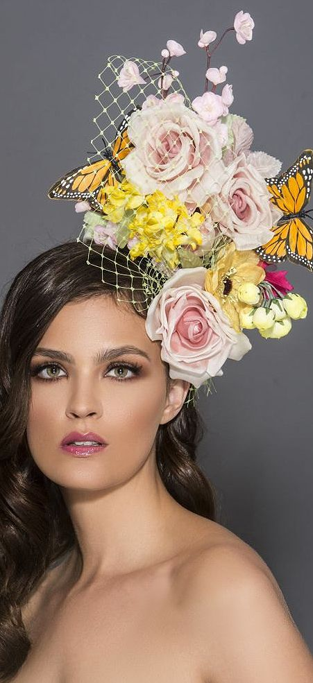 From Arturos Spring Derby collection. Floral Roses and Butterflies headpiece fascinator. A bouquet made of assorted Silk flowers on blush pink, green and yellow tones, 3 monarch butterflies and green Russian netting , on top of a black velvet headband. Perfect for a day at Royal Ascot, Dubai World Cup, Melbourne Cup, or Kentucky Derby #millinery #fashionsonthefield #racingfashion #kentuckyderby #weddings #florals #floralfashion #affiliatelink #handmade